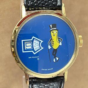 Mr Peanut Blue Jump Dial Gold Tone Swiss Watch